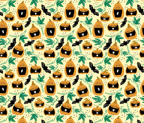 Laughing Pumpkins fabric by roguerenpnw on Spoonflower - custom fabric