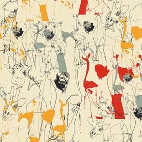 Draff 1 - sketchy giraffes, yellow, red