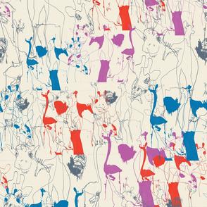 Draff 1 - sketchy giraffes, blue, pink