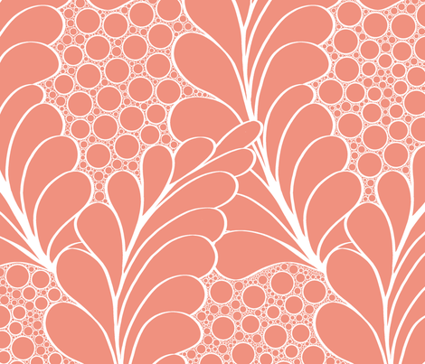 Feathers_and_Pebbles_White_on_Salmon fabric by house_of_heasman on Spoonflower - custom fabric