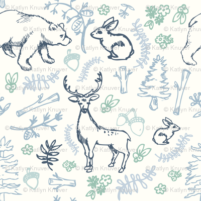 Forest print blue