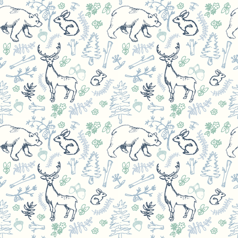 Forest print blue fabric by brushwelldesigns on Spoonflower - custom fabric