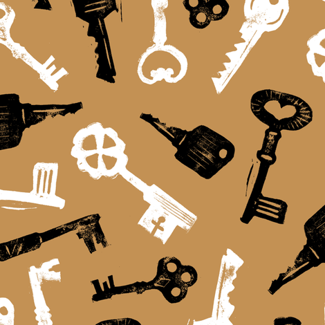 Black and white keys fabric by revista on Spoonflower - custom fabric