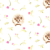 Pink flower floral olive green || Harry the Hedgehog  forest animal _ Miss Chiff Designs