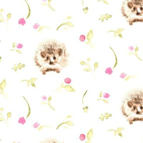Hedgehog Pink flower floral olive green LARGE  || Harry forest animal _ Miss Chiff Designs