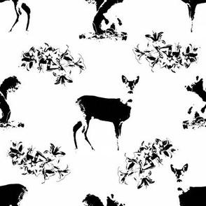 Roe deers and squirrels_black