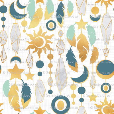 Bohemian spirit // white background mint dark turquoise & gold feathers golden suns & moons grey crystal gems