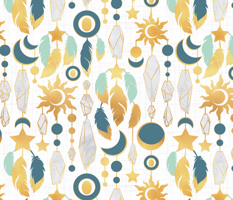 Bohemian spirit // white background mint dark turquoise & gold feathers golden suns & moons grey crystal gems fabric by selmacardoso on Spoonflower - custom fabric