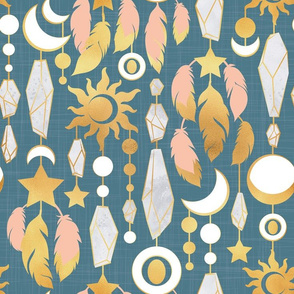 Bohemian spirit // dark turquoise background salmon pink & gold feathers golden suns & moons grey crystal gems