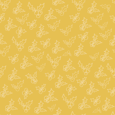 Gold Holly fabric by brushwelldesigns on Spoonflower - custom fabric
