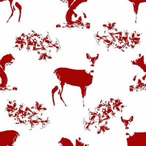 Roe deers and squirrels_red