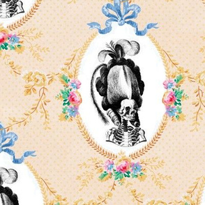 14 Marie Antoinette french France Queen Empress poufs skulls skeletons Victorian elegant gothic lolita floral flowers roses vines leaf leaves bows festoons swag borders frames medallions polka dots Baroque Rococo Princess morbid macabre scary parody caric