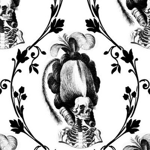 11 Marie Antoinette french France Queen poufs skulls skeletons Victorian  Princess flowers floral leaves leaf vines monochrome black white baroque elegant gothic lolita Empress Rococo borders  morbid macabre scary parody caricature egl