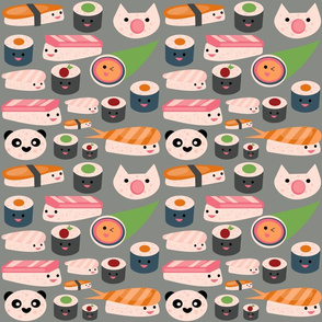 Kawaii sushi gray