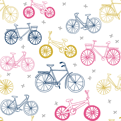 bicycles fabric // navy, pink and yellow bicycle fabric kids design fabric by andrea_lauren on Spoonflower - custom fabric