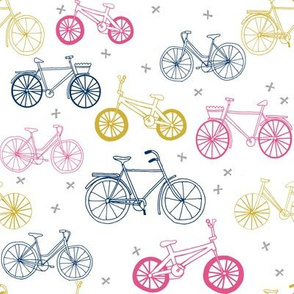 bicycles fabric // navy, pink and yellow bicycle fabric kids design