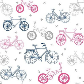 bicycle fabric // bicycles pink and navy and grey design