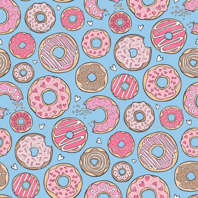 Donuts with Hearts Pink on Blue 1,5 inch