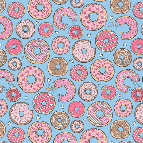 Donuts with Hearts Pink on Blue 1,5 inch fabric by caja_design on Spoonflower - custom fabric