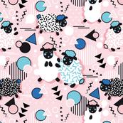Mééé Memphis sheep // pink background blue circles & triangles black & white sheep arrows lines & dots