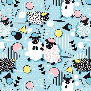 Mééé Memphis sheep // sky blue background pink & yellow circles & triangles black & white sheep arrows lines & dots