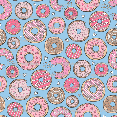 Donuts with Hearts Pink on Blue 1 inch