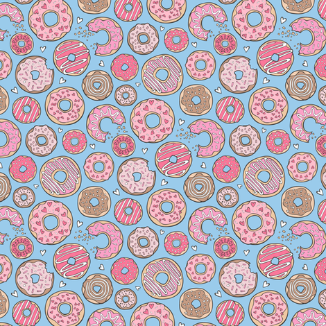 Donuts with Hearts Pink on Blue 1 inch fabric by caja_design on Spoonflower - custom fabric