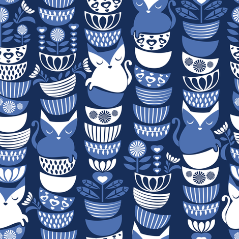 Swedish folk cats // navy blue background indigo blue & white flowers bowls & cute kitties fabric by selmacardoso on Spoonflower - custom fabric