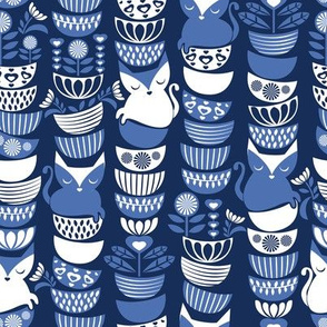 Swedish folk cats // navy blue background indigo blue & white flowers bowls & cute kitties