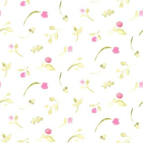 Olive green pink floral watercolor || tossed flower _ Miss Chiff Designs
