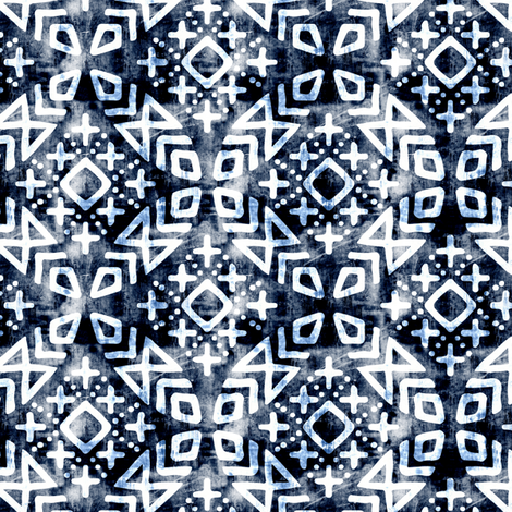 (small scale) modern moroccan on navy fabric by littlearrowdesign on Spoonflower - custom fabric