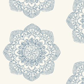 light blue medallion block print on ivory cream offwhite