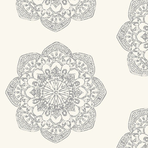 Large grey medallion gray medallion on ivory cream