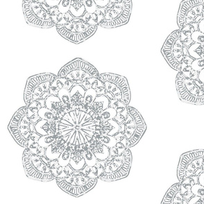 Grey Medallion gray medallion india block print middle eastern on white