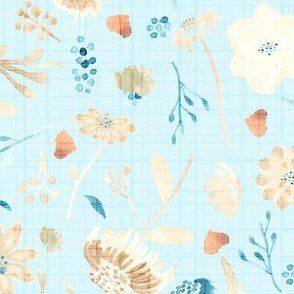 Fall Floral Autumn Leaves Blue || Teal cream linen olive green orange  watercolor