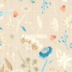 Fall Leaves Autumn Flowers Watercolor || Pastel Tan Blue Teal Cream Linen olive green
