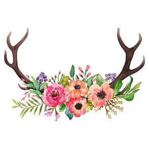 """12""""x12"""" Floral Deer Antlers / Watercolor Antlers"""