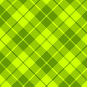 bright green diagonal tartan