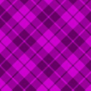 bright plum diagonal tartan