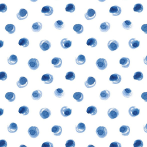 Watercolor Dry Brush Polka Dot in Indigo Blue