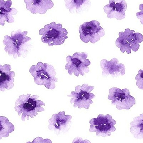 Abstract Watercolor Flowers in Purple
