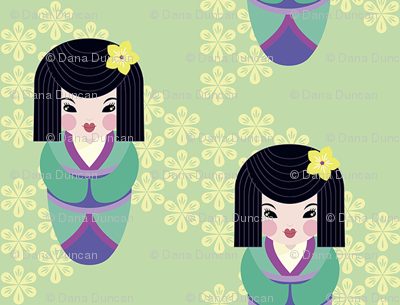 Japanese dolls in mint tiny repeat