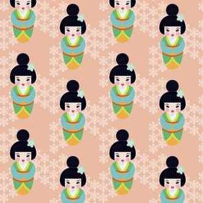 Japanese dolls in peach tiny repeat