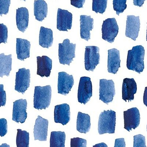 Abstract Watercolor Blocks in Indigo Blue