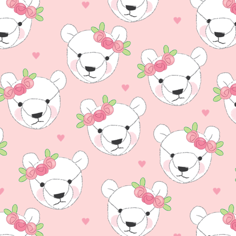 teddy bear faces white with rosebuds fabric lilcubby spoonflower