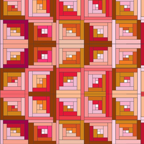 Pink  Rusty Log Cabin Quilt Top