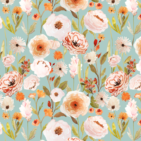 Indy Bloom Design Autumn Garden Blue B fabric by indybloomdesign on Spoonflower - custom fabric
