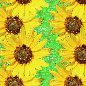 Sunflower pointillism bright