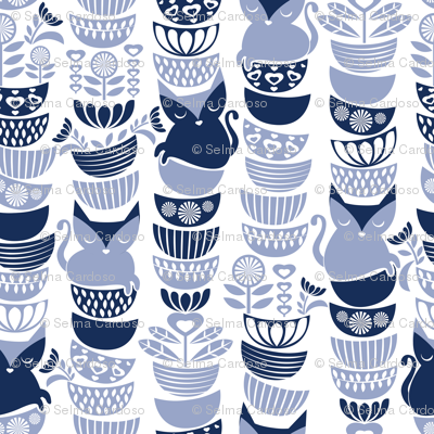 Swedish folk cats // white background navy & pale blue flowers bowls & cute kitties