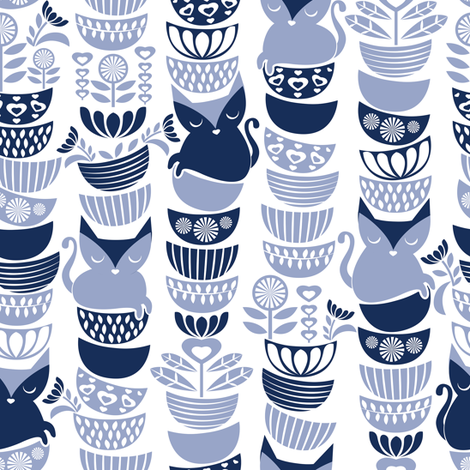 Swedish folk cats // white background navy & pale blue flowers bowls & cute kitties fabric by selmacardoso on Spoonflower - custom fabric